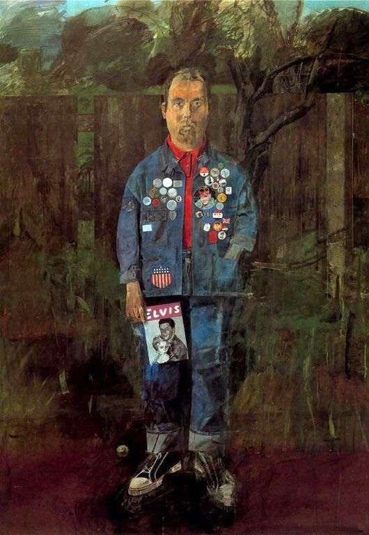 Self portrait with magazine by Peter Blake