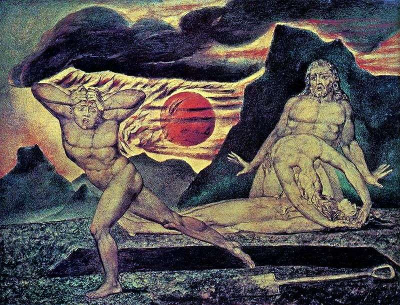 Adam and Eve find the body of Abel by William Blake