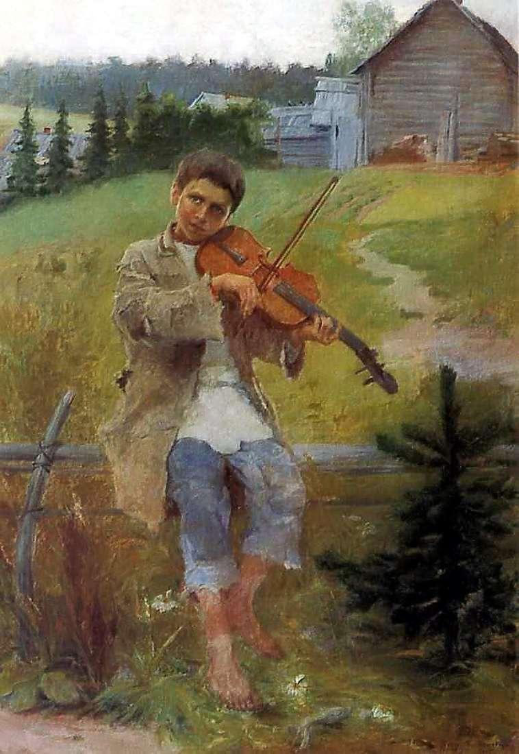 Boy with a violin by Nikolai Petrovich Bogdanov Belsky