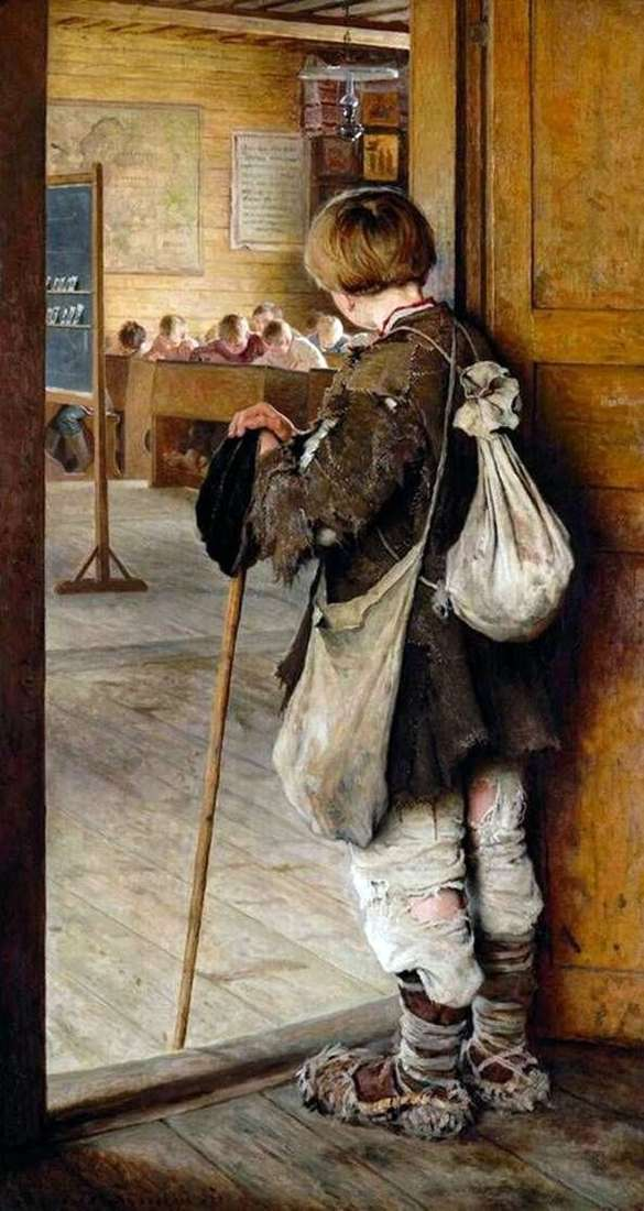 At the door of the school by Nikolay Bogdanov Belsky