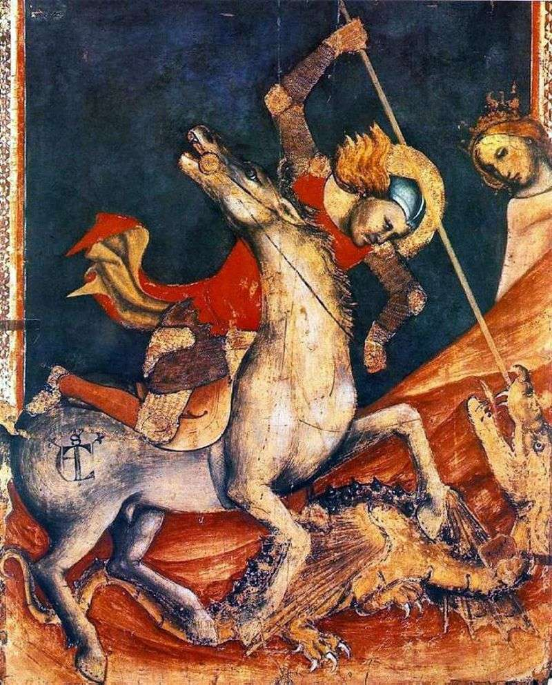 The battle of St. George with the dragon. Ok by Vitale da Bologna