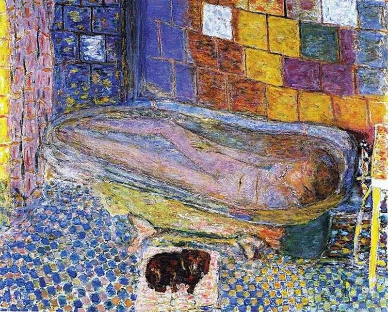 Lady with a dog in the bath by Pierre Bonnard