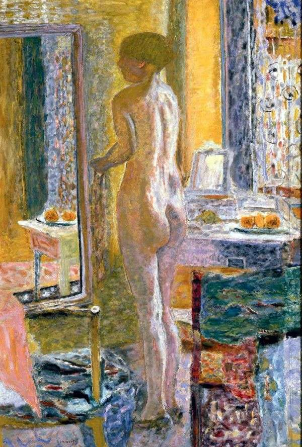 Nude in front of a mirror by Pierre Bonnard