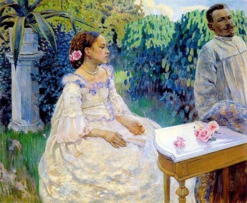 Self portrait with his sister by Victor Borisov Musatov