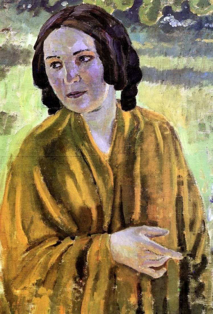 The girl in the yellow shawl by Victor Borisov Musatov