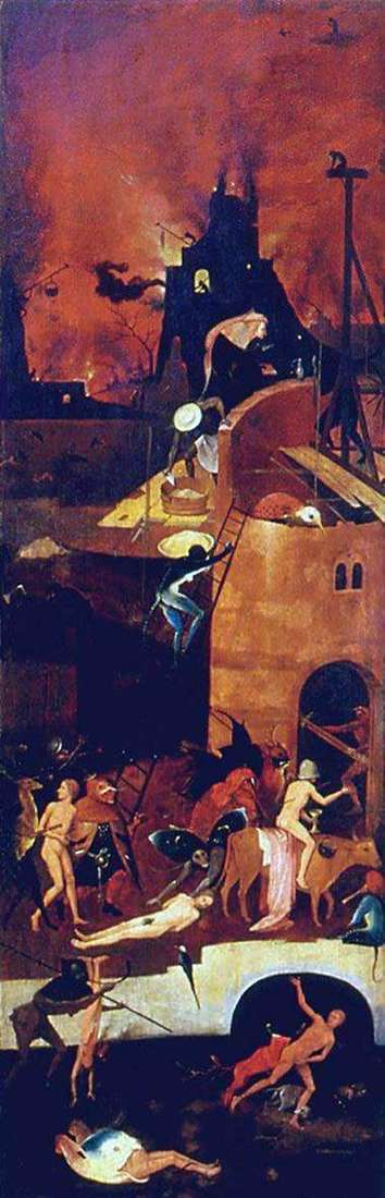 Hell, the altar of Voznesen. The right shutter by Hieronymus Bosch