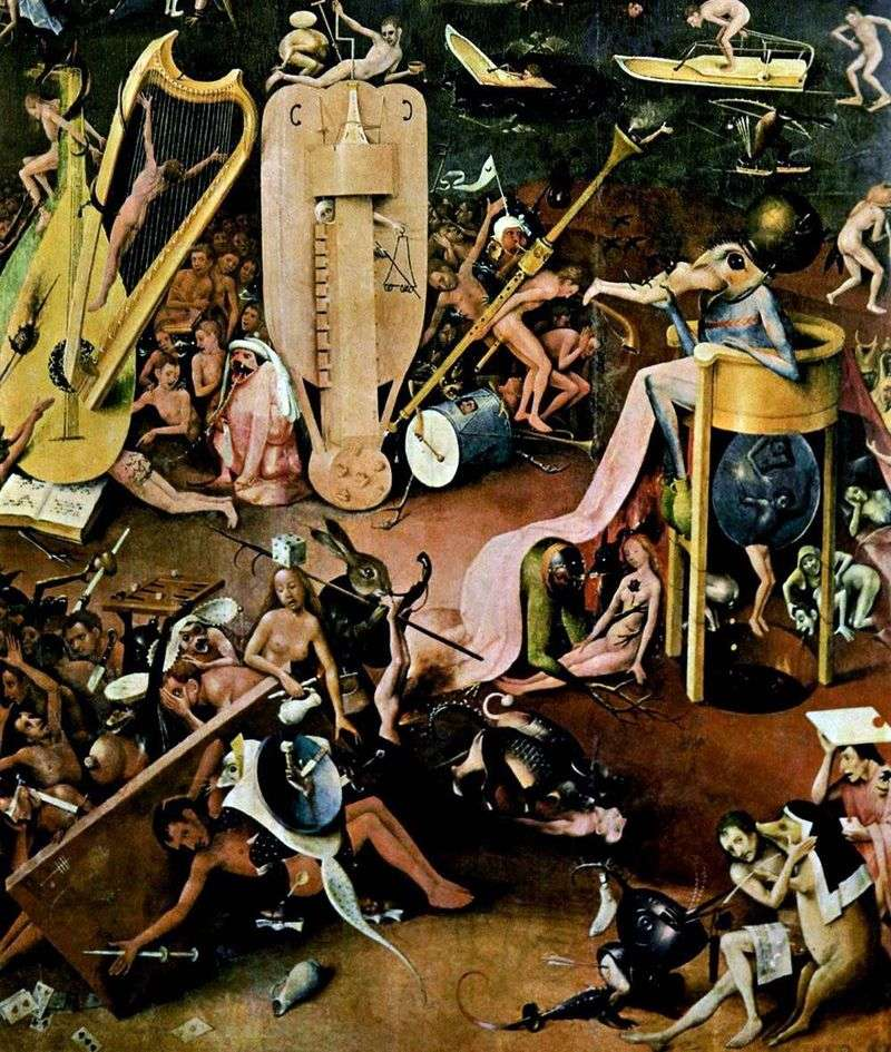 Hell. Detail of the triptych Garden of earthly pleasures by Hieronymus Bosch
