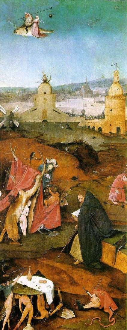 Visions of St. Anthony. The right wing of the altar by Hieronymus Bosch