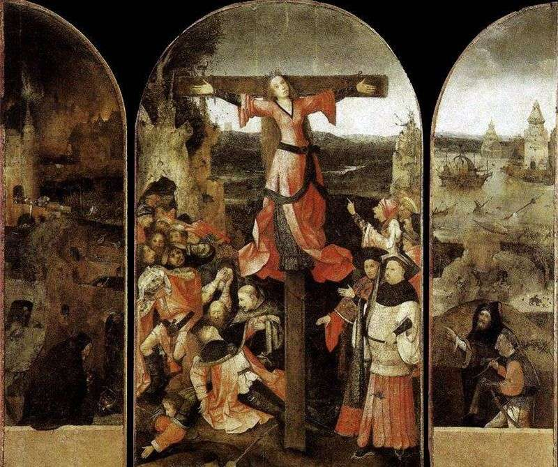 Martyrdom of the Holy Liberty. Triptych by Hieronymus Bosch