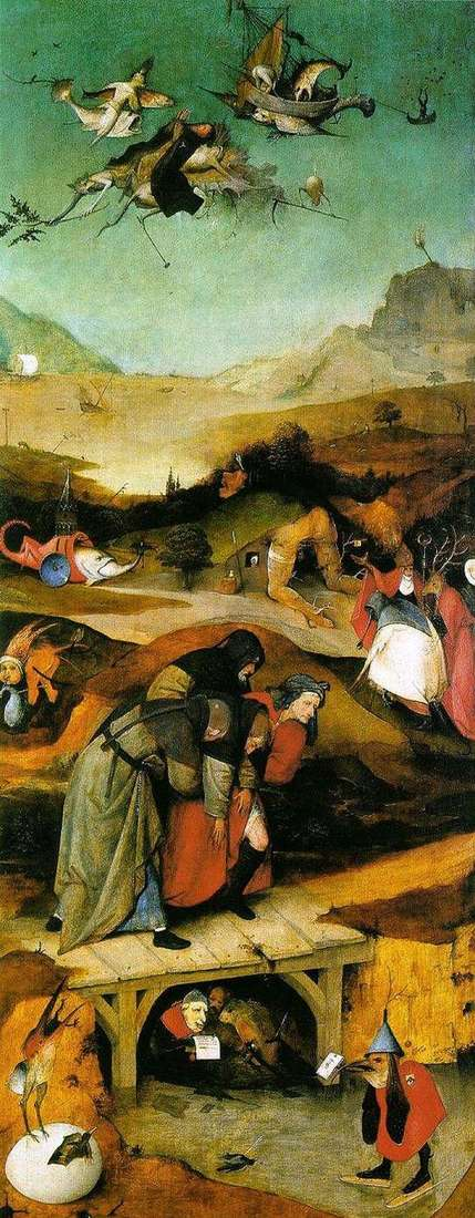 The flight and fall of Saint Anthony. The left wing of the triptych by Hieronymus Bosch
