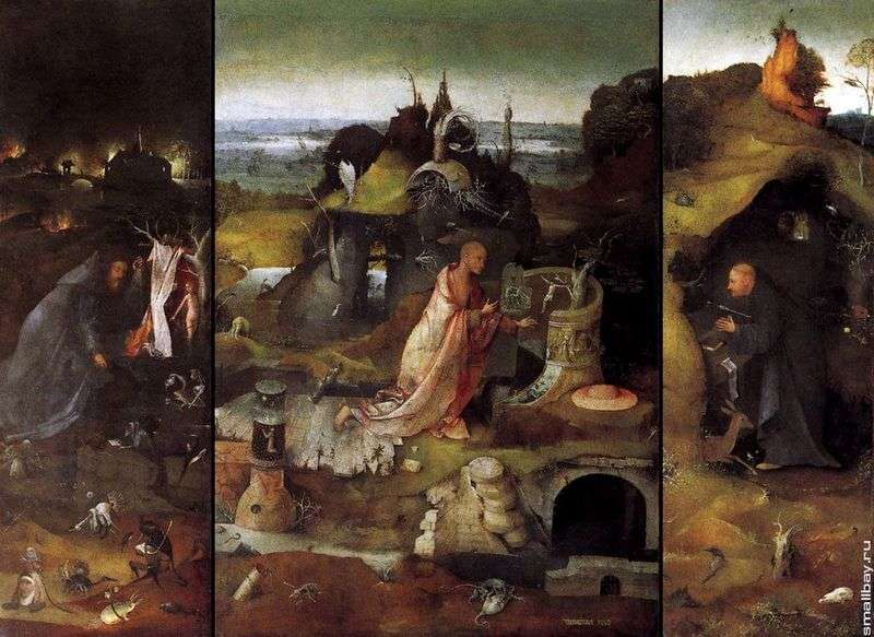 The holy hermits. Triptych by Hieronymus Bosch