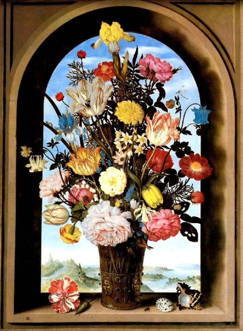 Bouquet in an arched window by Ambrosius Bosshart