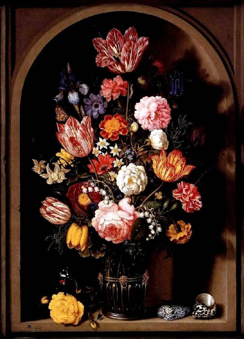 Bouquet of flowers in a vase by Ambrosius Bosshart
