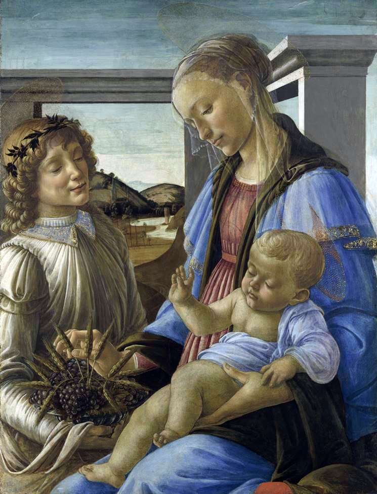 Madonna with Child and Angel (Madonna of the Eucharist) by Sandro Botticelli