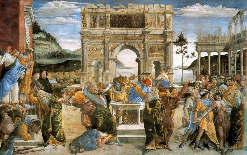 Punishment of the risen Levites by Sandro Botticelli