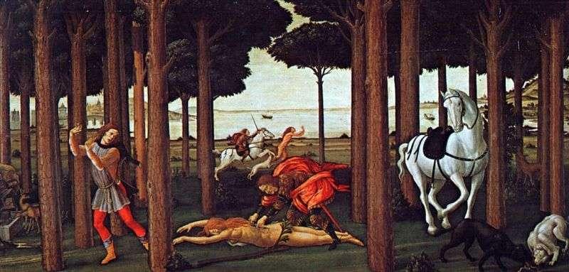 Novella Boccaccio Nastagio degli Onesti second episode by Sandro Botticelli