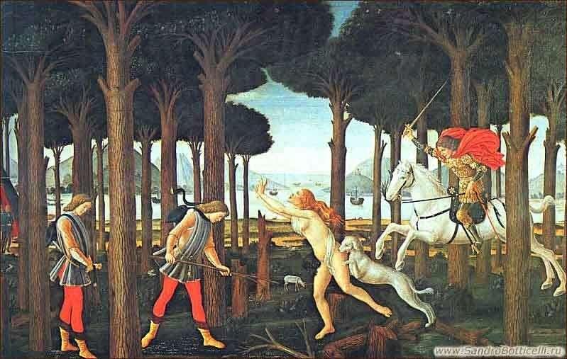 Novella Boccaccio Nastagio degli Onesti the first episode by Sandro Botticelli
