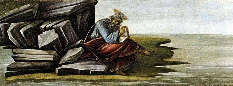 St. John the Evangelist, writing on the Pathos Book of Revelation by Sandro Botticelli