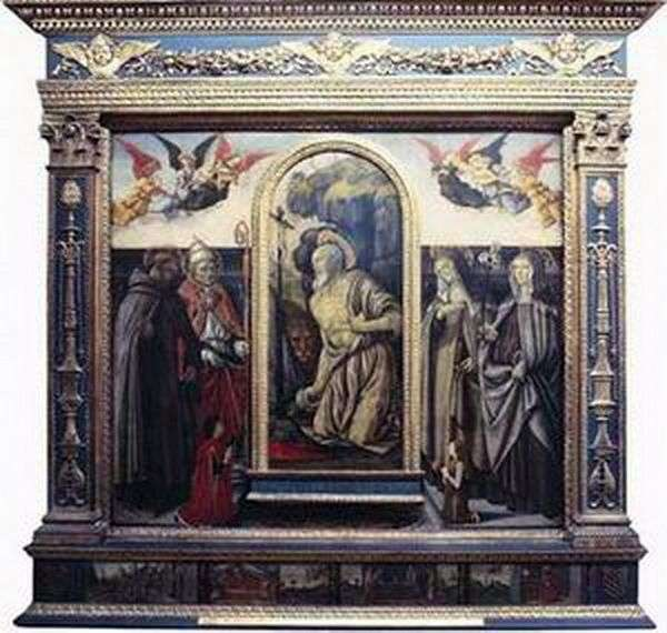 Penitent Sts. Hieronymus with saints and donators by Francesco Botticini