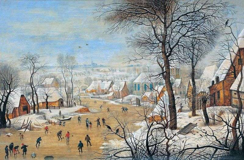 Landscape with skaters and a trap for birds by Peter Brueghel