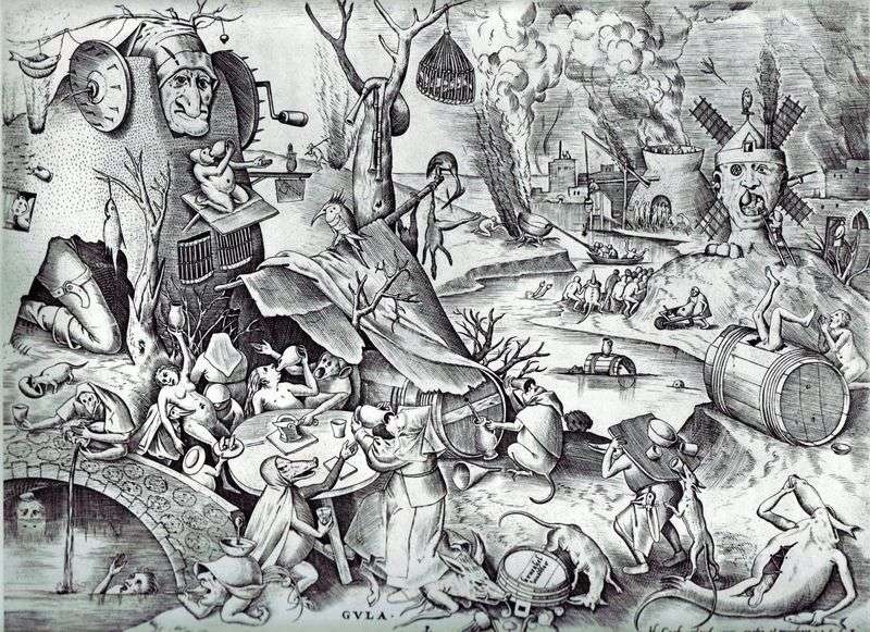 Gluttony. Engraving by Peter Brueghel