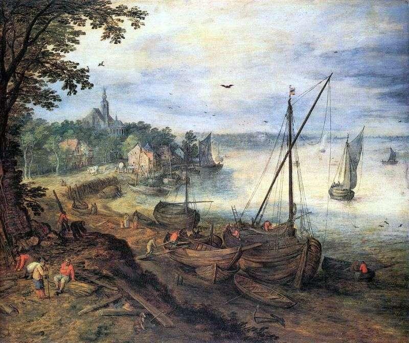 River landscape with lumberjacks by Jan Brueghel