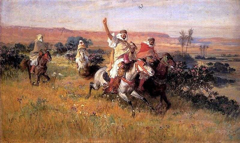 Hunting with a falcon by Frederic Arthur Bridgman