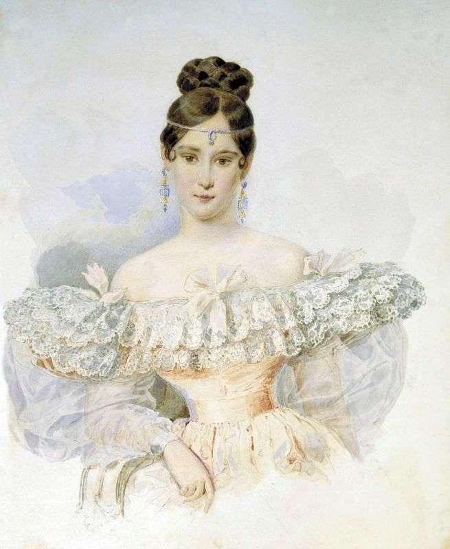 Natalia Pushkina, born. Goncharova by Karl Bryullov