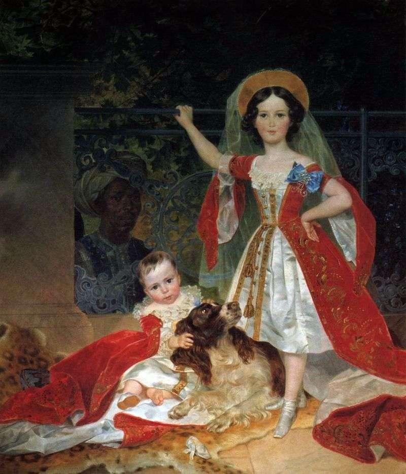 Portrait of Prince Volkonskys children with the Arab by Karl Bryullov