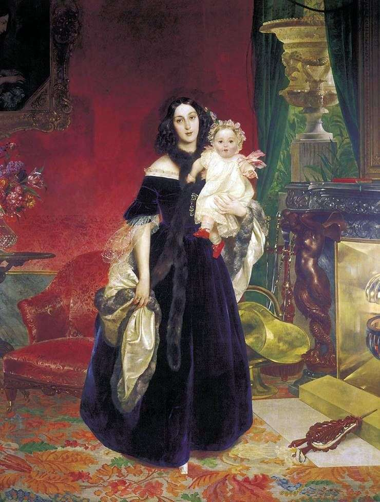 Portrait of MA Beck with her daughter by Karl Bryullov