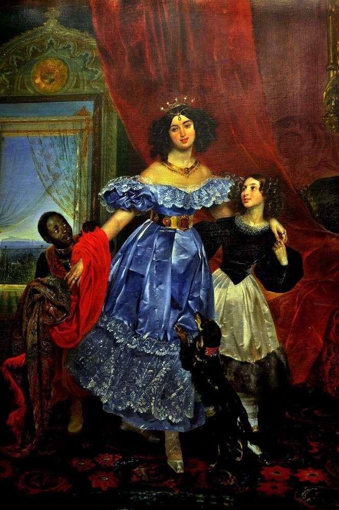 Portrait of Yu. P. Samoylova with Giovannina Pacini and Arapchonka by Karl Bryullov