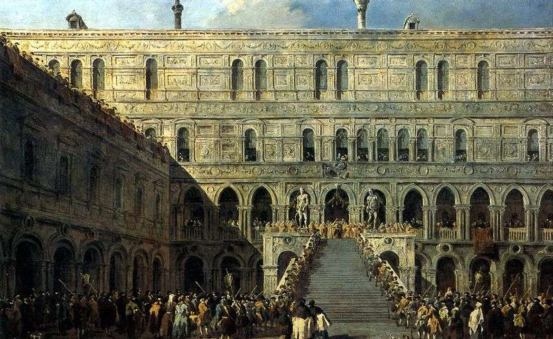 The Coronation of the Doge on the Giants Staircase at the Doges Palace by Francesco Guardi