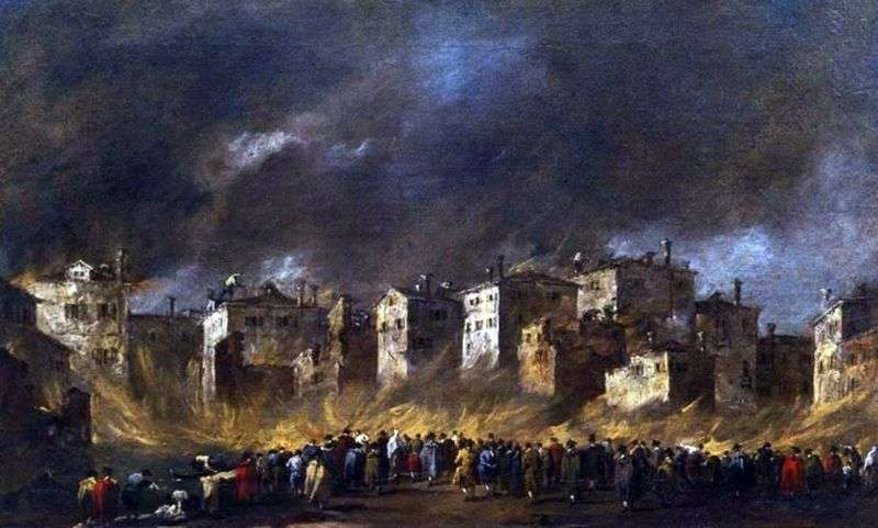 The fire in the quarter of San Marquola by Francesco Guardi