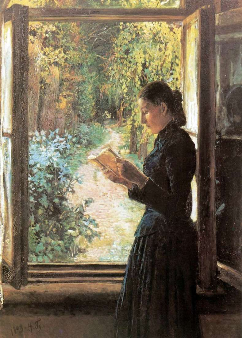 Portrait of N. I Petrunkevich at the open window by Nikolay Ge