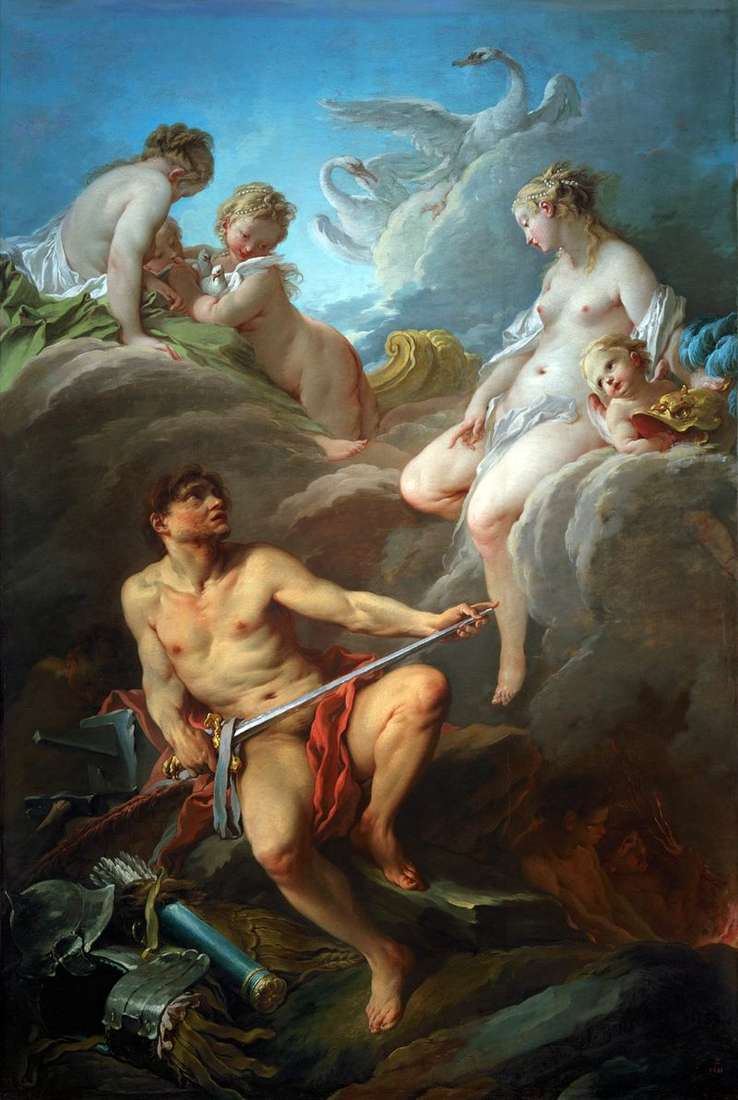Venus and the Volcano with weapons for Aeneas by Francois Boucher