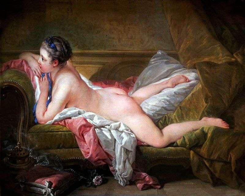 Portrait of Mademoiselle Louise OMurphy (Lying Girl)   Francois Boucher
