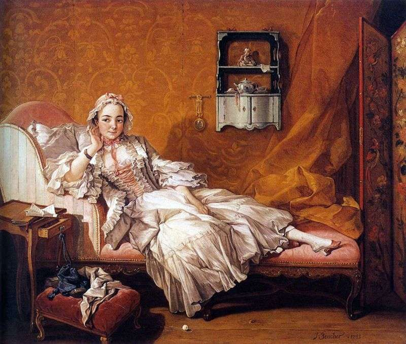 Portrait of the artists wife Marie Jeanne Busot by Francois Boucher