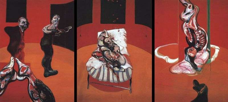 Three sketches of figures at the Crucifixion by Francis Bacon