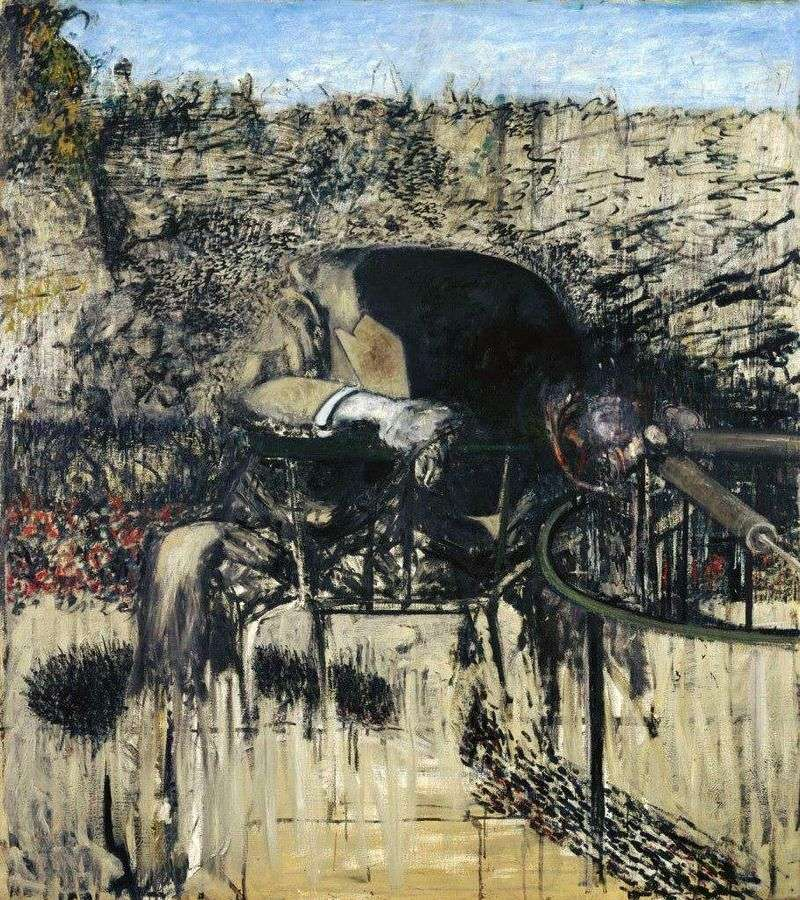 The figure in the landscape by Francis Bacon