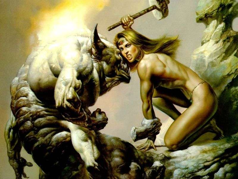 Amazon and Monster by Boris Vallejo