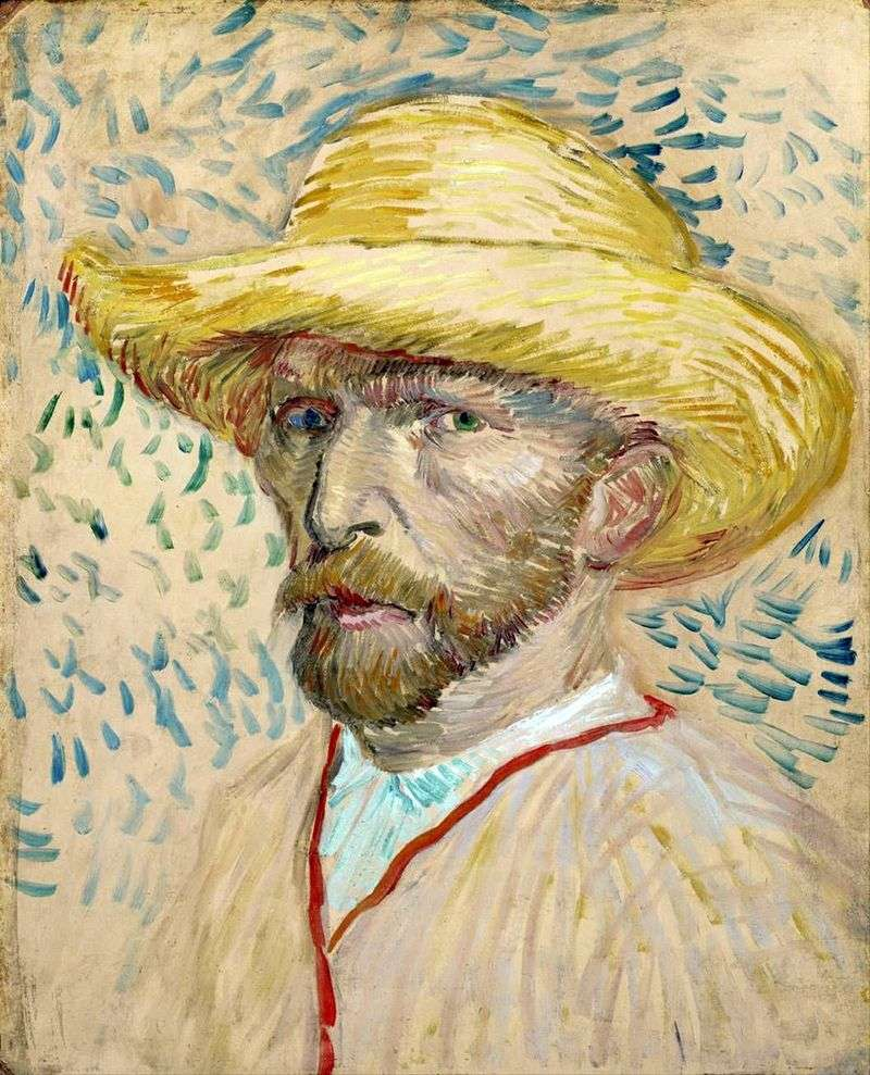 Self Portrait in a Straw Hat II by Vincent Van Gogh