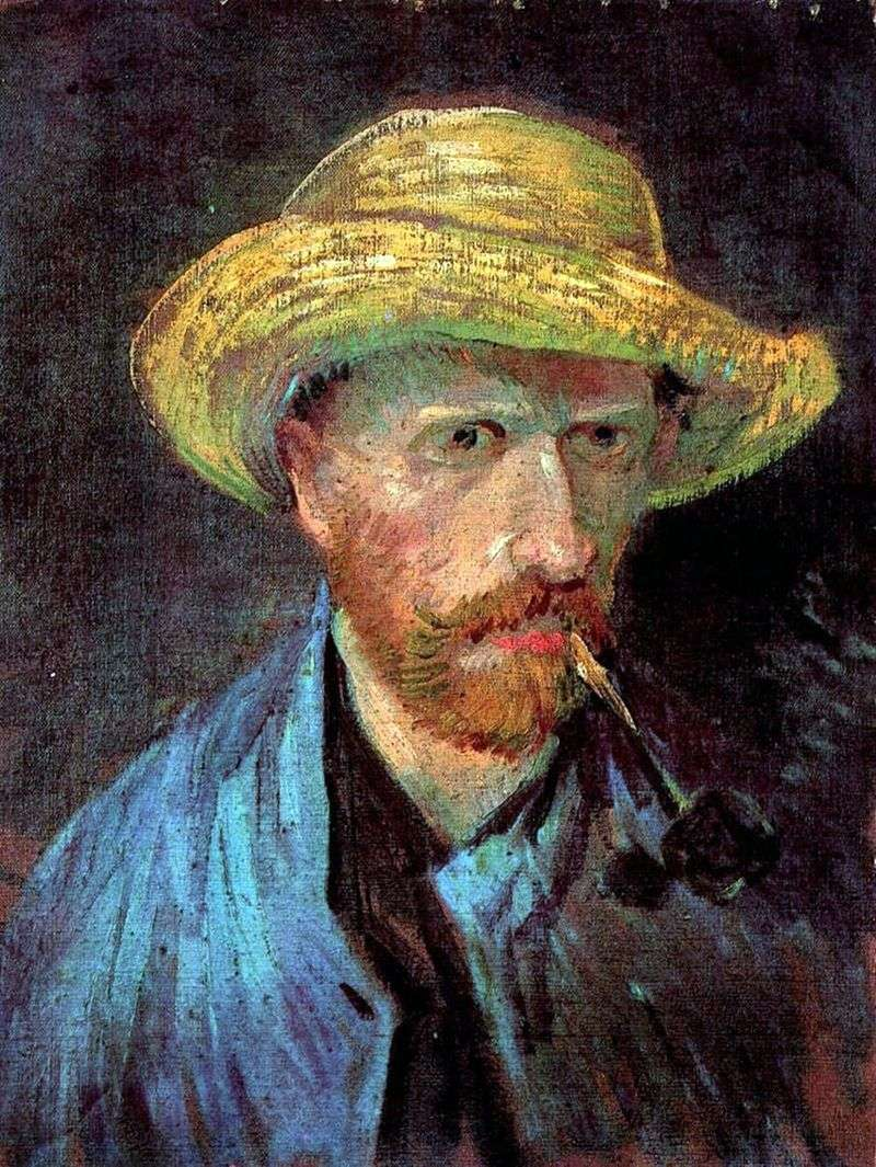 Self portrait in a straw hat with a pipe by Vincent Van Gogh