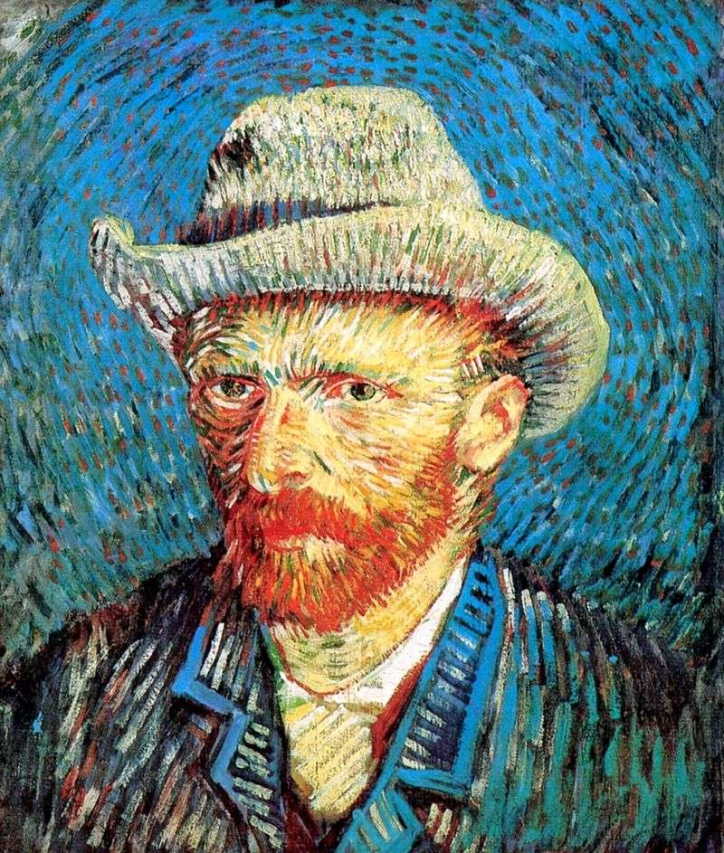 Self portrait in a felt hat by Vincent Van Gogh