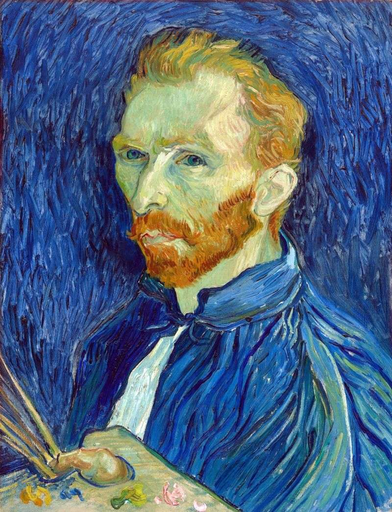 Self portrait with a palette by Vincent Van Gogh
