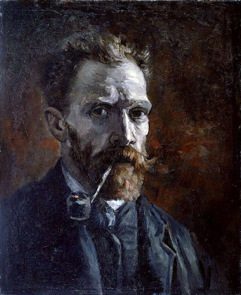Self portrait with a pipe by Vincent Van Gogh