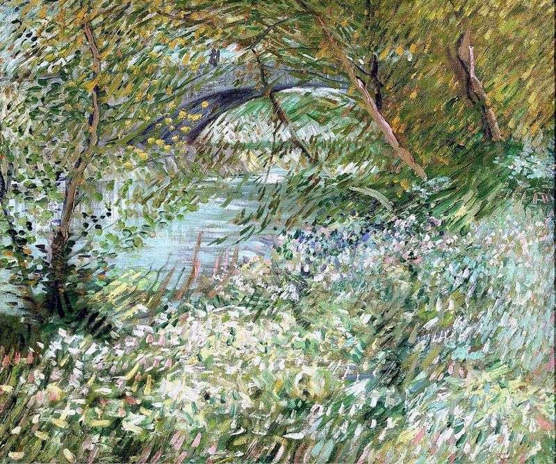 Seine Coast in Pont de Clichy in spring by Vincent Van Gogh