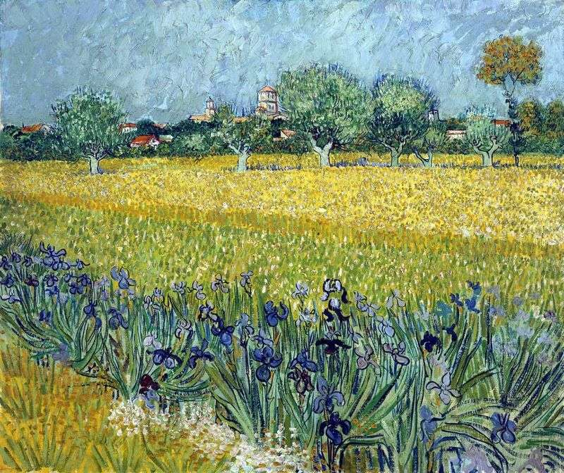 View of Arles with irises in the foreground by Vincent Van Gogh
