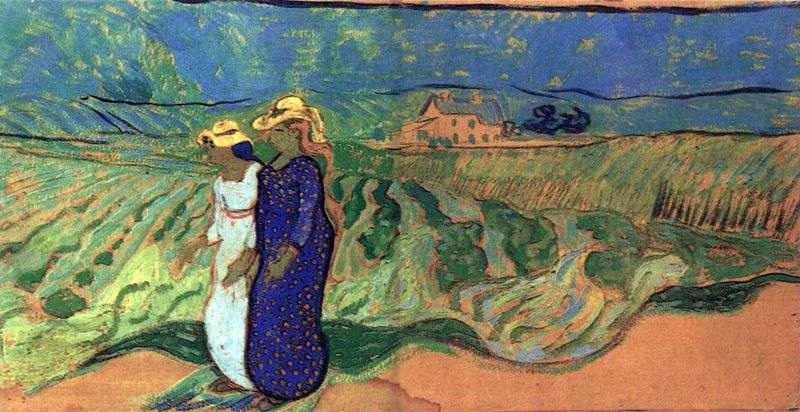 Two women walking in the field by Vincent Van Gogh