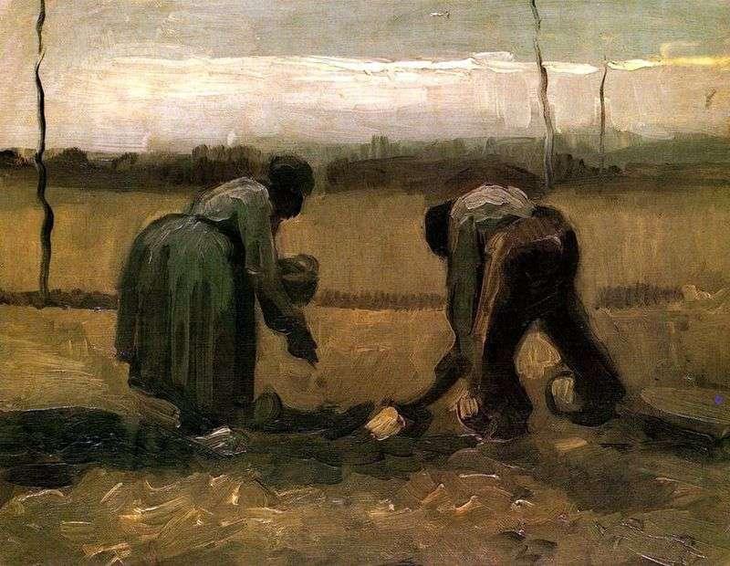 Peasant and peasant planting potatoes by Vincent Van Gogh
