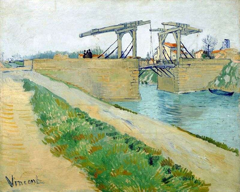 The Langlois Bridge in Arles and the road along the canal by Vincent Van Gogh